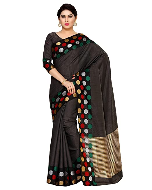 bf554940de MIMOSA Tassar Silk Saree With Blouse Piece(4132-215-Sd-Blk_Charcoal Free  Size): Amazon.in: Clothing & Accessories