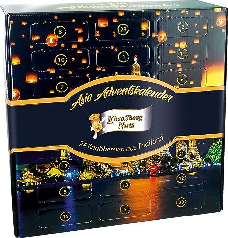 Khao Shong Adventskalender mit 24 Knabbereien und Snacks aus Thailand (Weihnachtskalender mit festlichem Motiv, lecker und dekorativ, Ideal zum