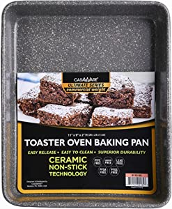 casaWare 11 x 9 x 2-inch Toaster Oven Ultimate Series Commercial Weight Ceramic Non-Stick Coating Baking Pan (Silver Granite)