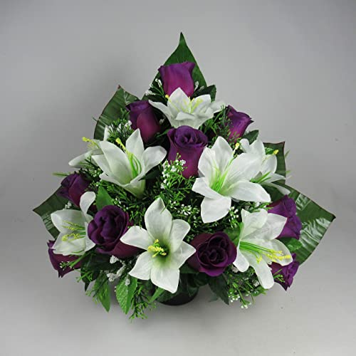 Flat Back Artificial Flower Arrangement In Grave Pot Vase Purple White 36 Cm Amazon Co Uk Handmade