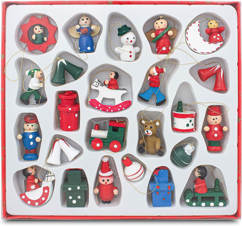 BRUBAKER Juego de 22 pcs para Decorar el árbol de Navidad en Madera - con Figuras de hasta 4 cm de Altura - pintadas a Mano - en Estuche