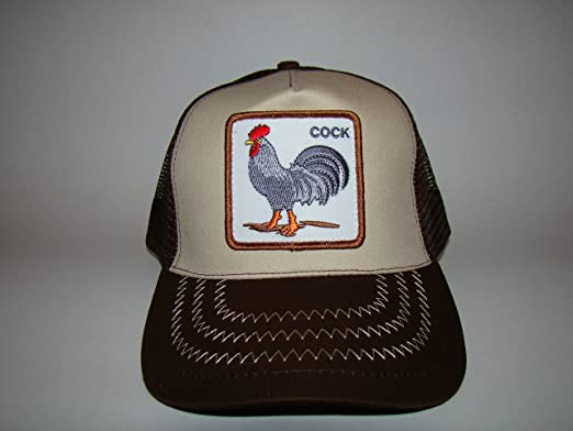 7a466c08bf5d3f Image Unavailable. Image not available for. Color: Animal Farm Cock Rooster  Trucker Embroidered Mesh Brown Tan Snapback Hat Cap