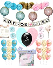111 Pcs Baby Gender Reveal Party Supplies and Games - Boy or Girl Decorations Kit