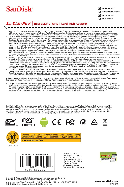 SanDisk microSDHC UHS-I - Tarjeta de memoria Ultra Android 16 GB con adaptador SD, velocidad de lectura hasta 80 MB/sy Clase 10