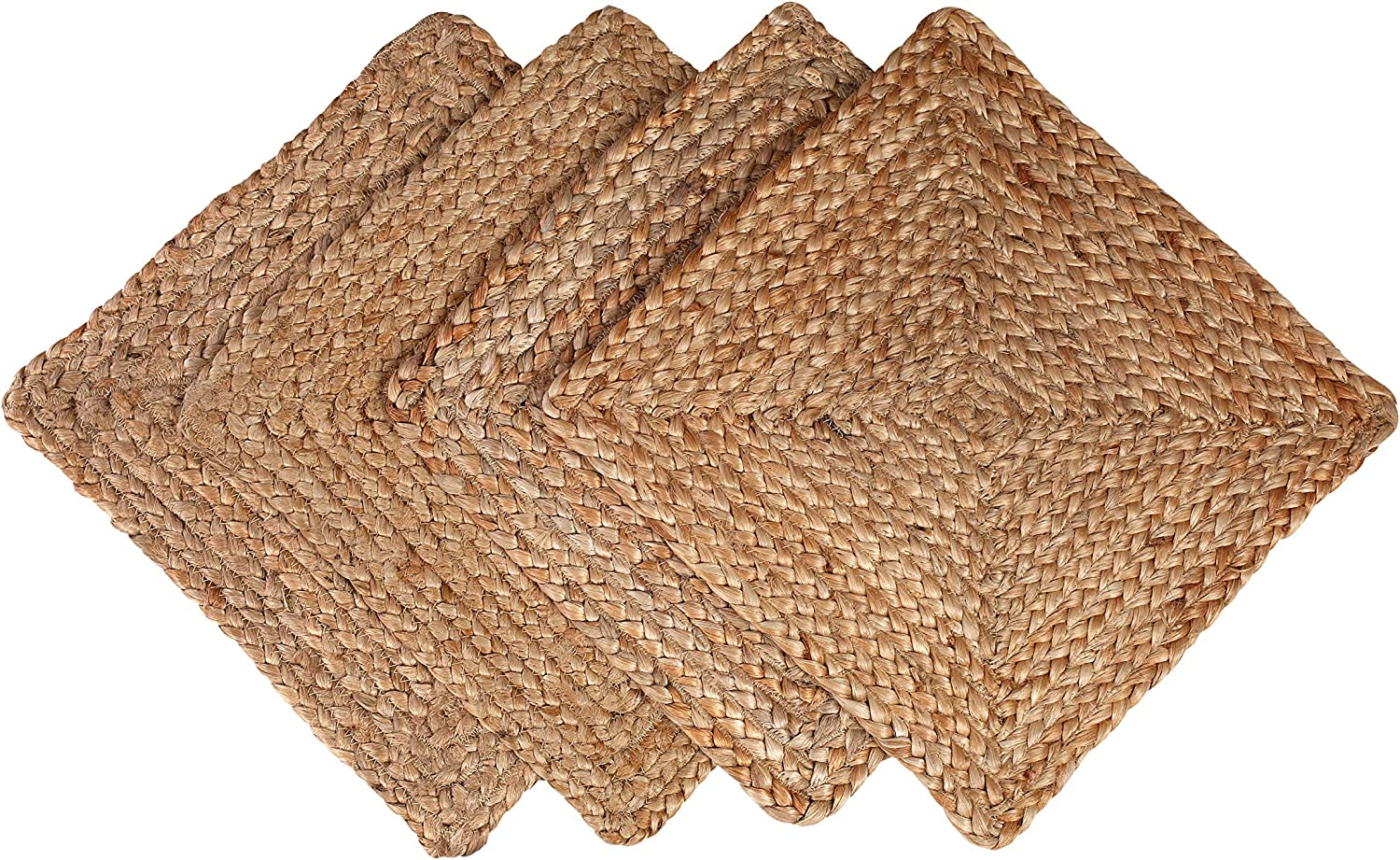 Amazon Com Glamburg Jute Braided Placemats Set Of 4 Reversible 100 Jute Nonslip 14x14 Square Farmhouse Vintage Jute Placemats For Dining Table Perfect For Indoor Outdoor Natural Home Kitchen