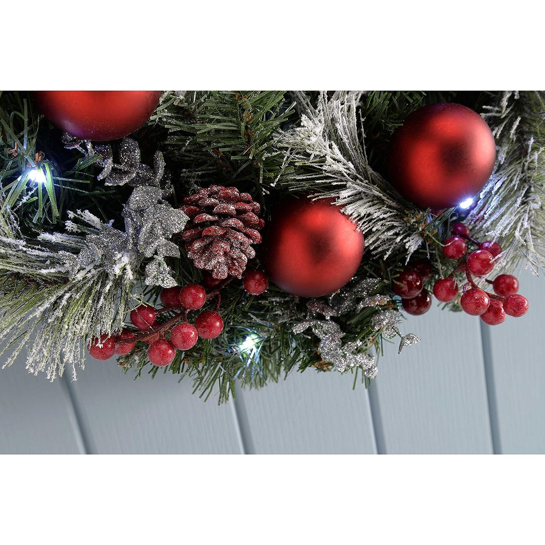 WeRChristmas Couronne givr/é 60 cm avec illumin/é avec 20 LED Blanc Chaud D/écorations de No/ël