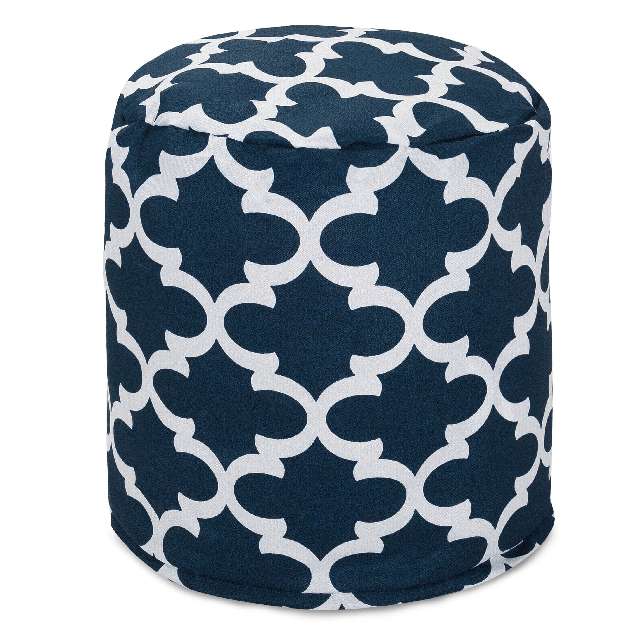 Majestic Home Goods Trellis Pouf, Small, Navy by Majestic Home Goods