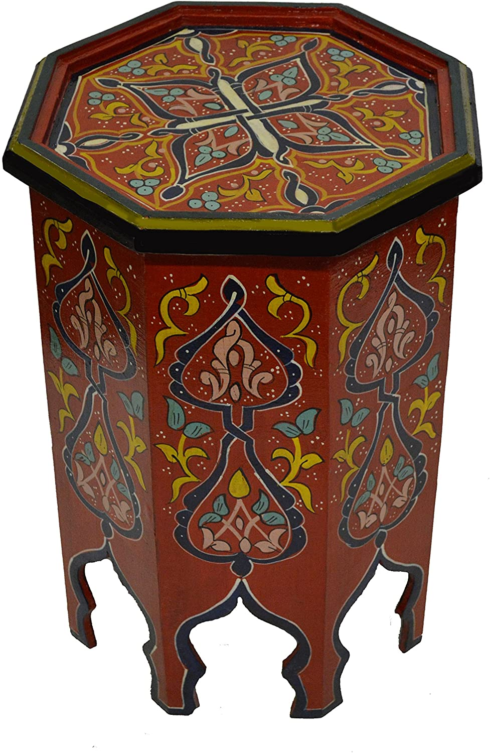 Moroccan Handmade Wood Table Side Delicate Hand Painted Red Exquisite