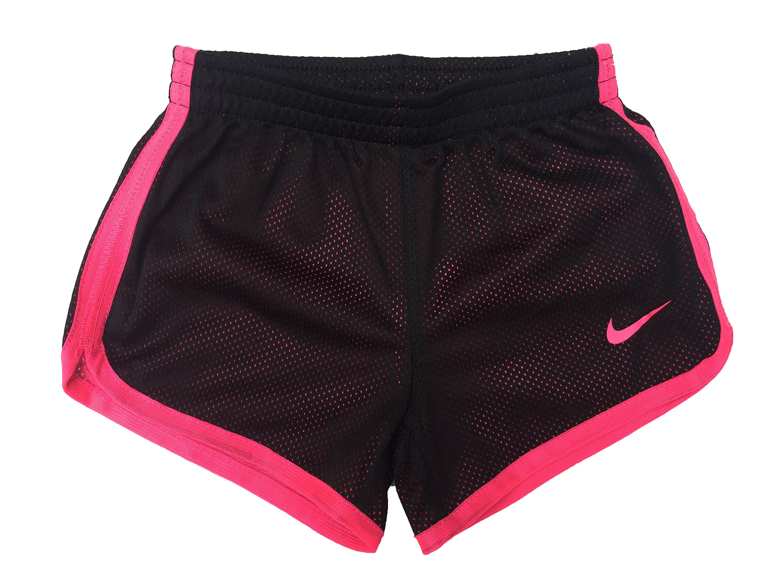 Nike Little Girls Tempo Shorts (2T Toddler, Mesh_Black (023) / Pink/Solid Pink) by Nike