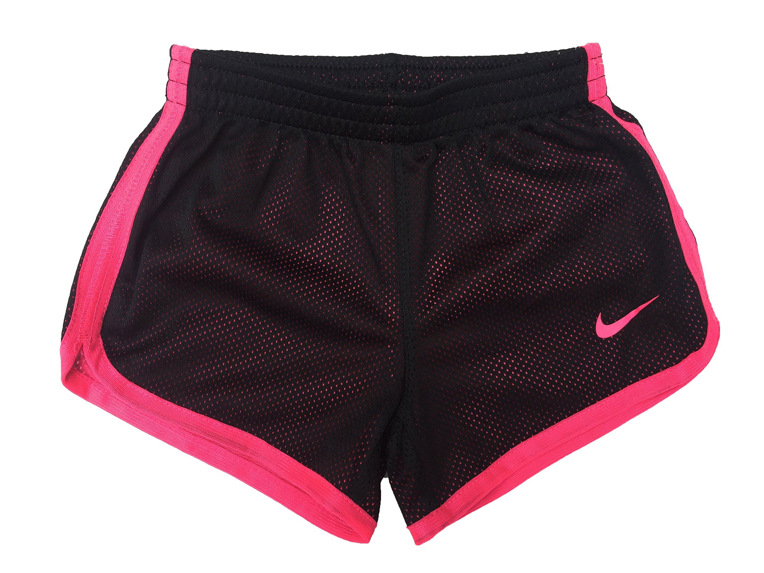 Nike Little Girls Tempo Shorts (2T Toddler, Mesh_Black (023) / Pink/Solid Pink)