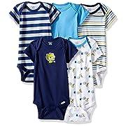 Gerber Baby Boys' 5-Pack Short-Sleeve Onesies Bodysuit, Safari, 0-3 Months