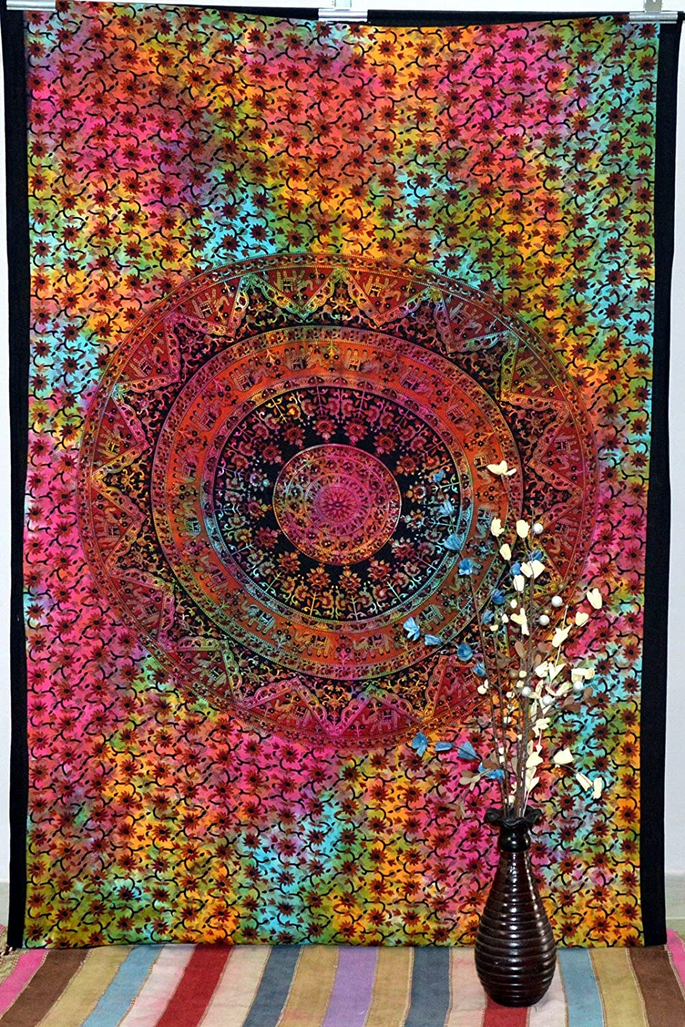 Indian Mandala Wall Twin Tapestry Throw Tapestries Hippie Wall Hanging Bed Cover Art B019QMUP6G