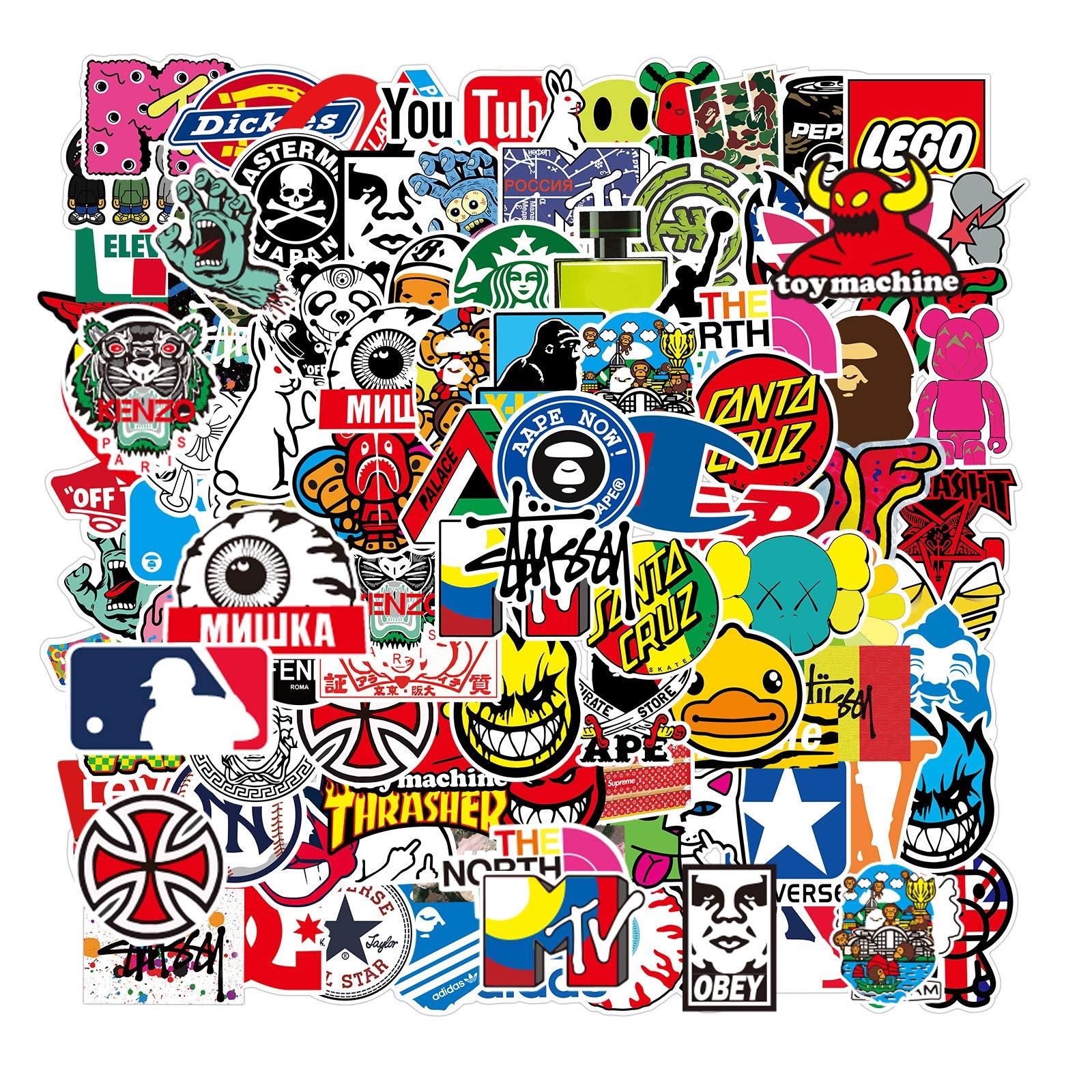 Nertpow Cool Brand Stickers 101 Pack Decals for Laptop Computer Skateboard Water Bottles Car Teens Sticker