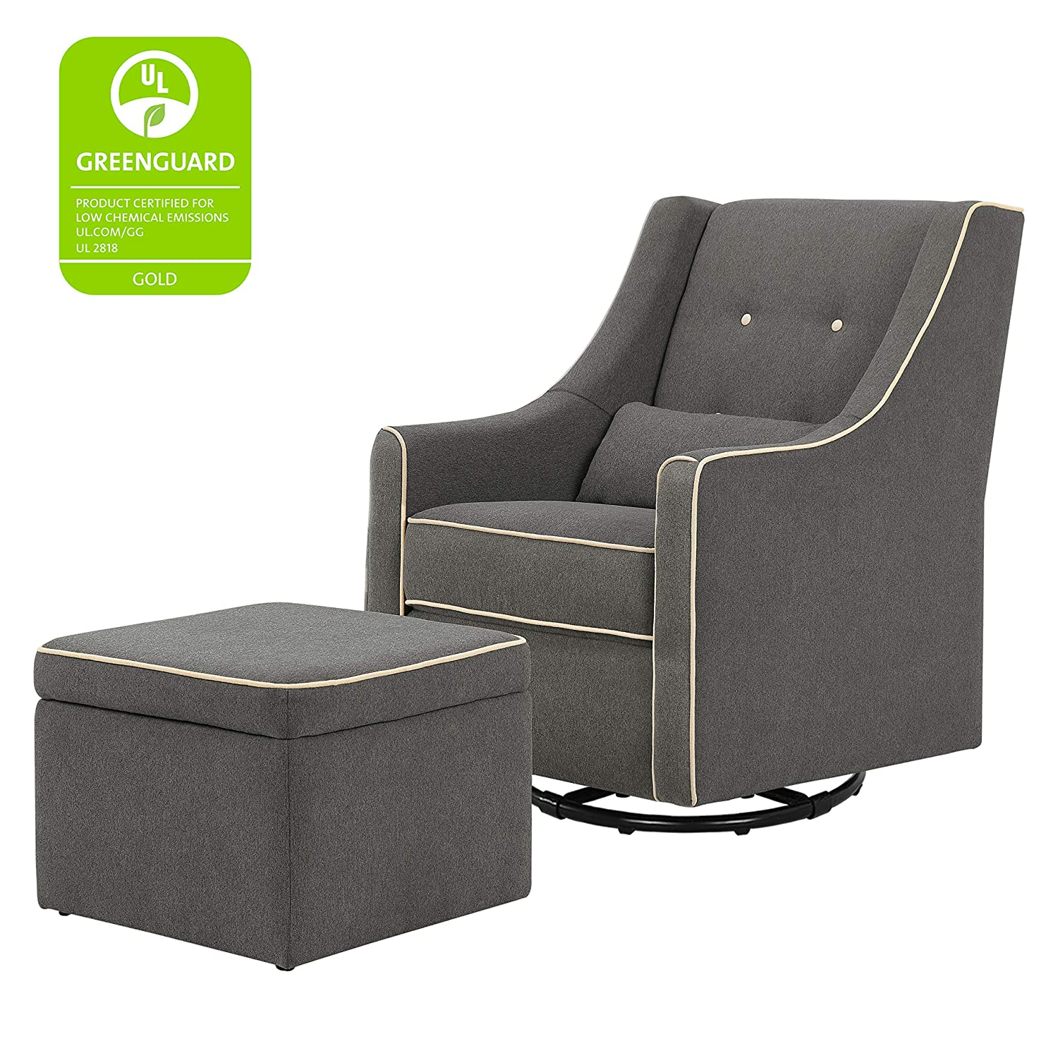 Awesome Davinci Owen Upholstered Swivel Glider With Side Pocket And Storage Ottoman Dark Grey With Cream Piping Pabps2019 Chair Design Images Pabps2019Com