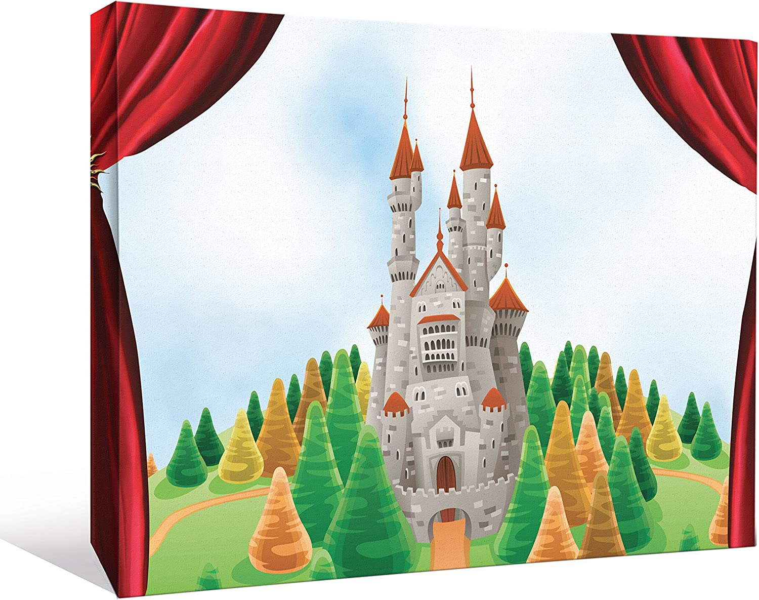 JP London CNV2069 Fantasy Evergreen Forest Fairy Tale Castle Stage Curtain Set Gallery Wall Decor, 1.5' x 2'
