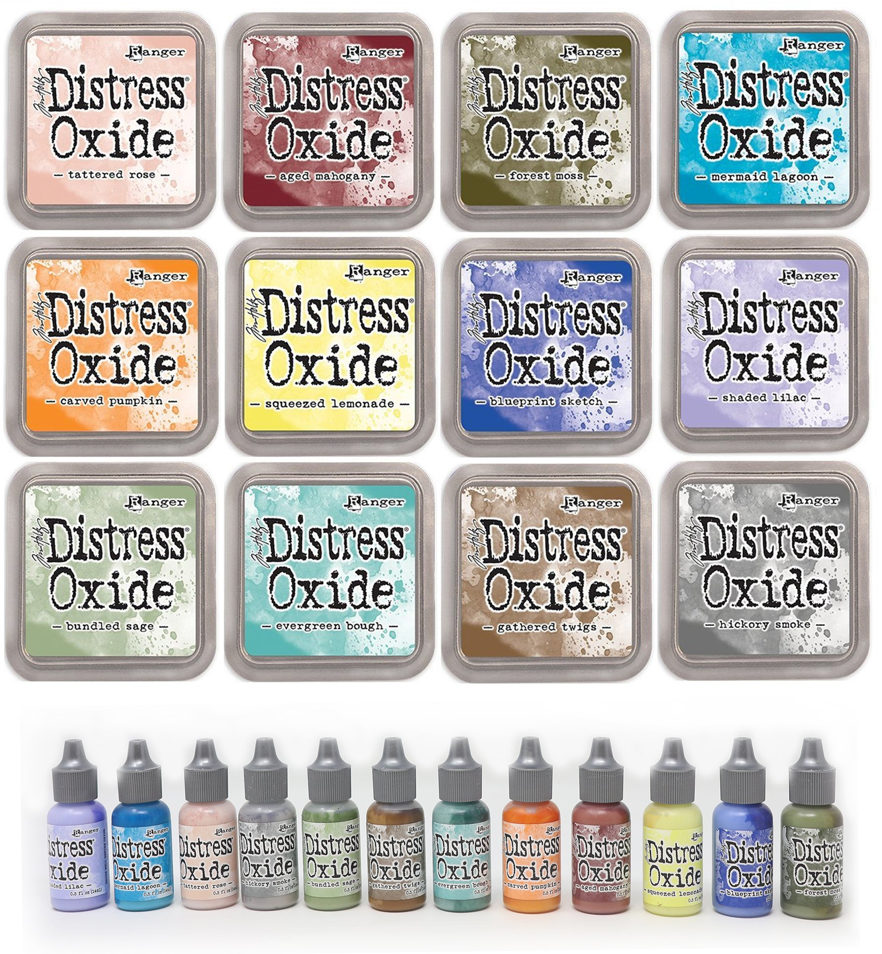 Ranger Tim Holtz January 2018 Distress Bundle - 12 Ink Pads and 12 Re-Inkers