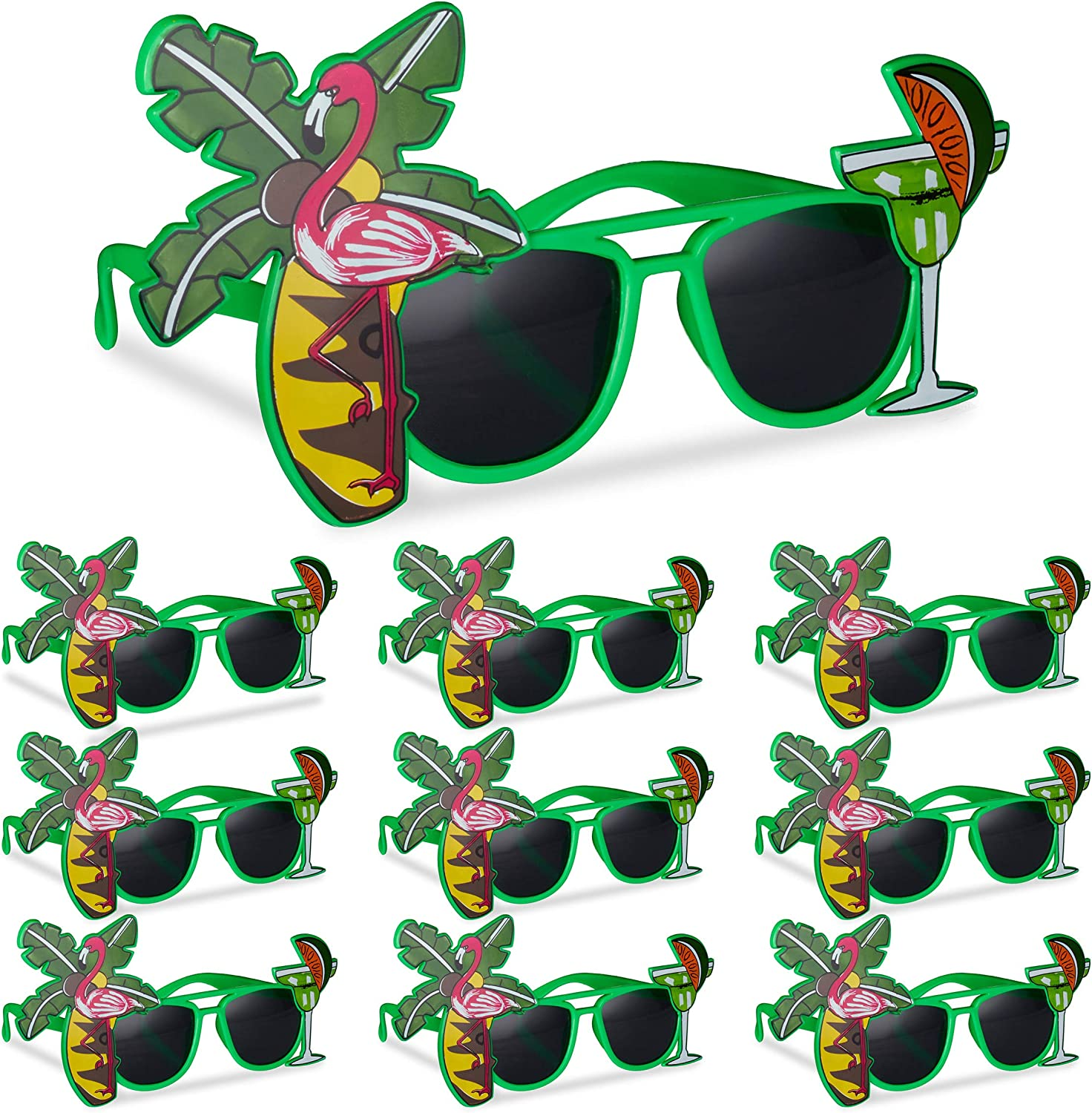 10 x Hawaii Cocktail Party Glasses with Palm Trees, Gag Glasses, Carnival Sunglasses, Green
