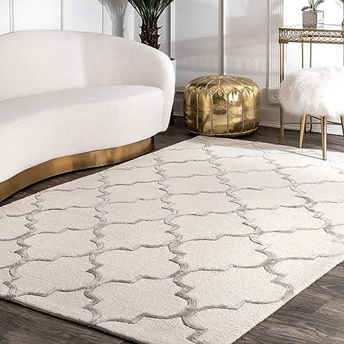nuLOOM 200SBHAC13A-305 Faux Silk Moroccan Wool Rug, 3 x 5 , Nickel