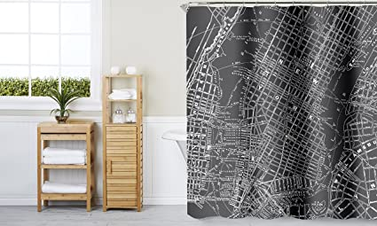 Indecor Home Fabric Hooks NYC MAP Shower Curtain Multi