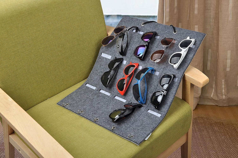 Vercord Felt Hanging Eyeglasses Sunglasses Eyewear Holder Display Organizer Wall Door 15 Slots Pockets 5 Hook Beige