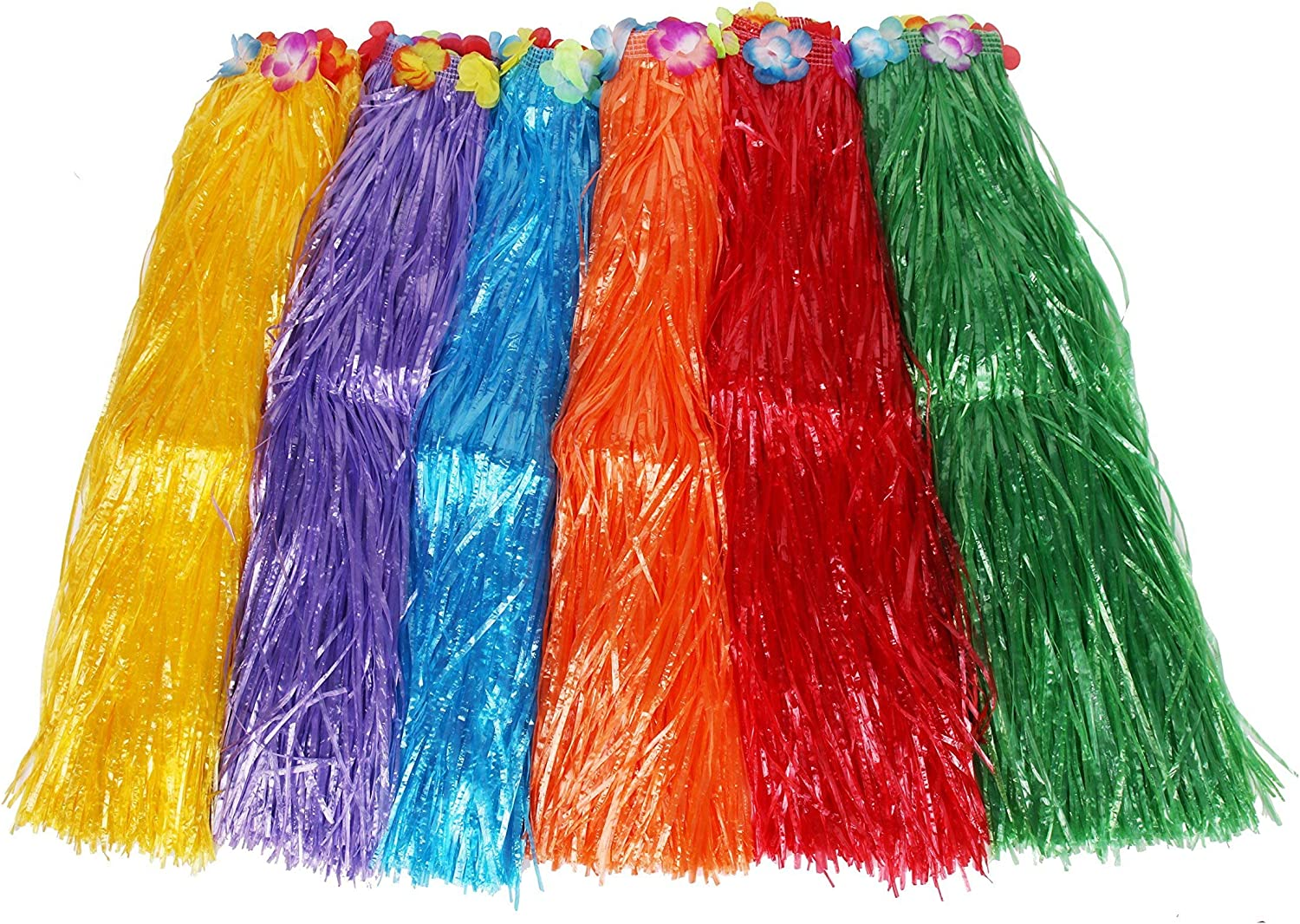 "Sea View Treasures Bulk 12 Pack Deluxe Adult 32"" Long Flowered Grass Hula Skirt Assortment"