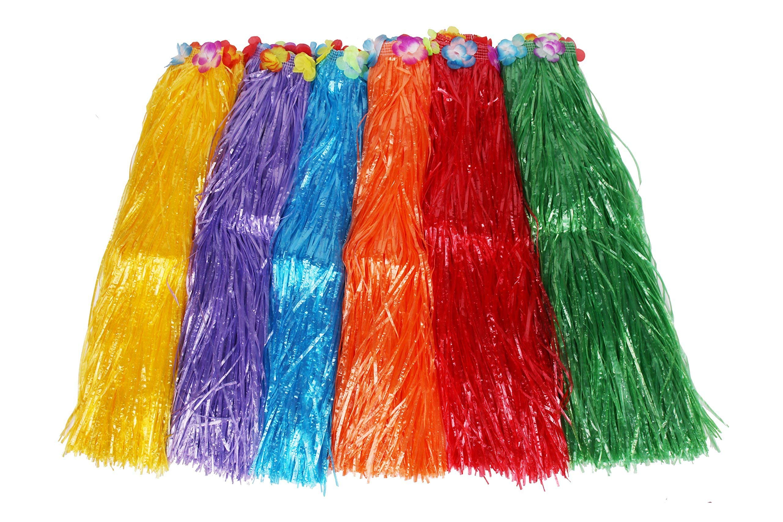 Sea View Treasures Bulk 12 Pack Deluxe Adult 32'' Long Flowered Grass Hula Skirt Assortment