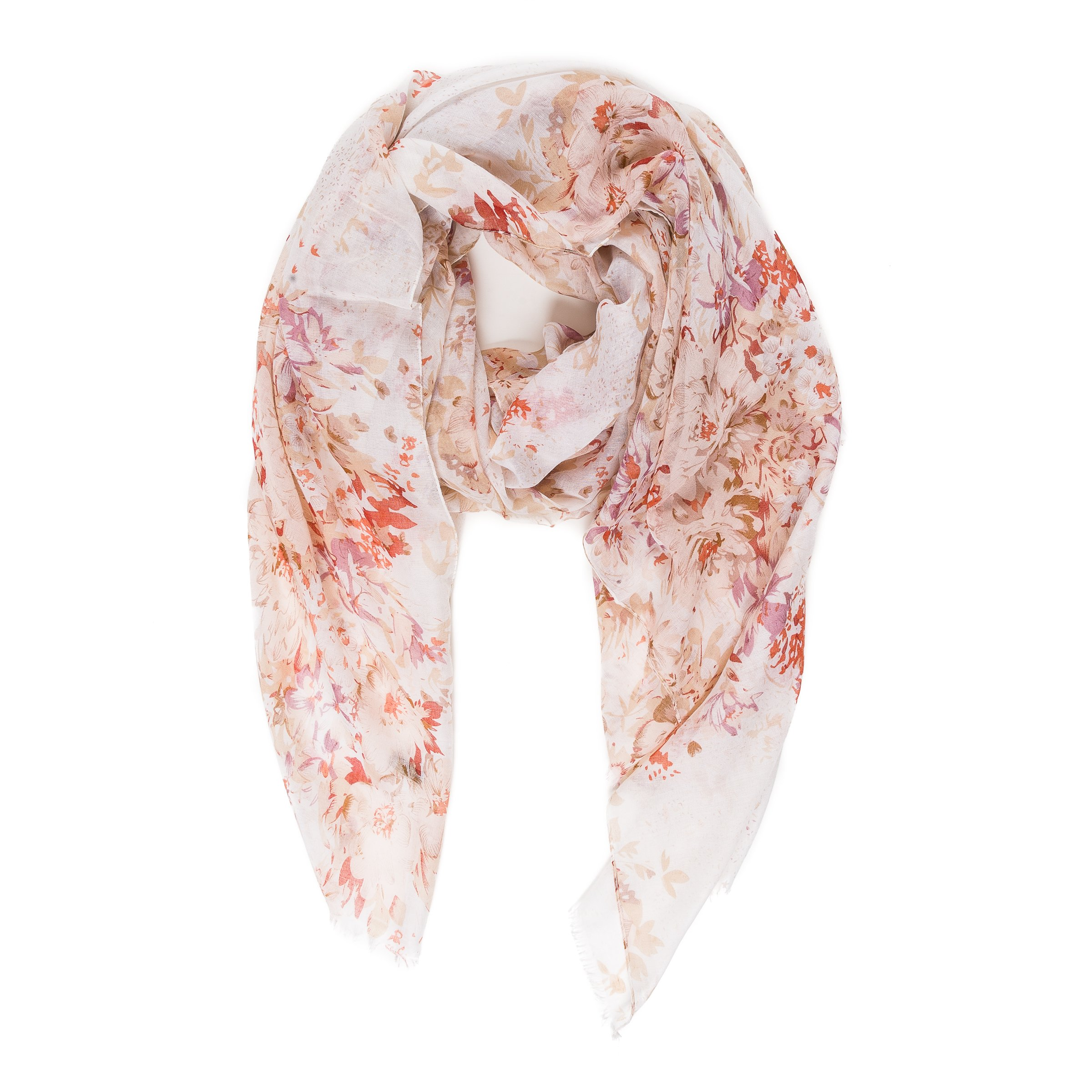 Scarf for Women Lightweight Floral Flower Beige Fashion Fall Winter Scarves Shawl Wraps by Melifluos (P077-15)