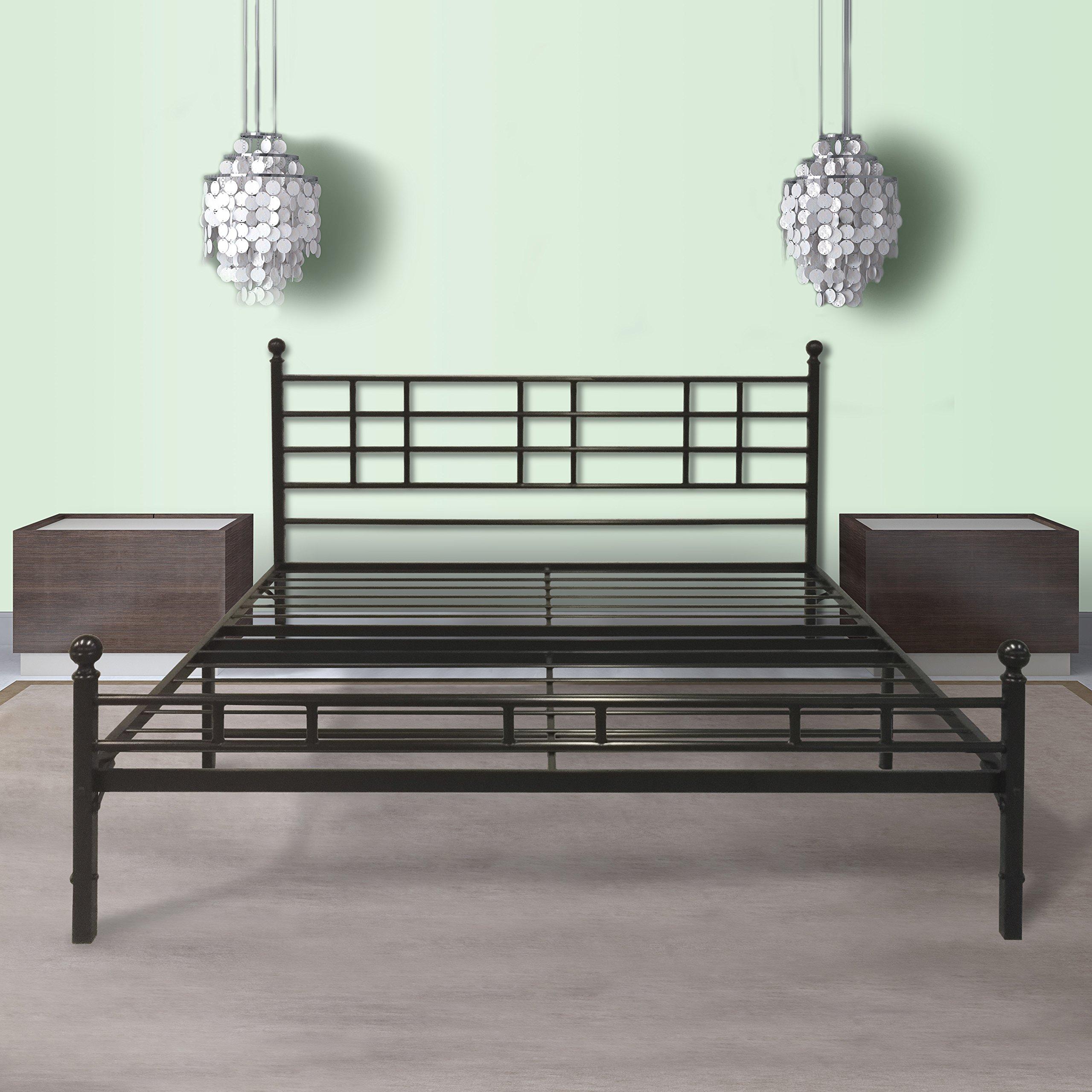 Best Price Mattress Model H Easy Set-Up Steel Platform Bed/Steel Bed Frame, Queen, Black