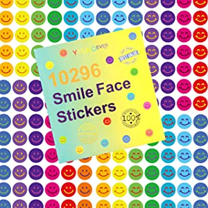 Youngever 10296 pcs Happy Smile Face Stickers, 12 Colors, Incentive Stickers for Reward Behavior Chart 3/8 Inch, Teacher Supplies Classroom Supplies