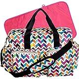 Trend Lab French Bull Ziggy Multi-Colored Chevron Deluxe Duffle Diaper Bag