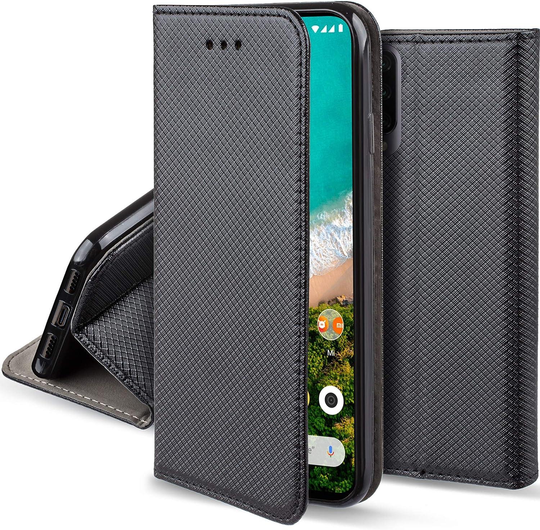 Moozy Funda para Xiaomi Mi A3, Negra - Flip Cover Smart Magnética con Stand Plegable y Soporte de Silicona