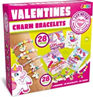 28 Packs Unicorn Valentines Day Gifts Cards for Kids with Bracelets, Valentine's Greeting Cards for Classroom Exchange Cards