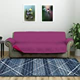 @home by Nilkamal Reversible 3 Seater Polyester Sofa Cover, Lavender & Fushcia