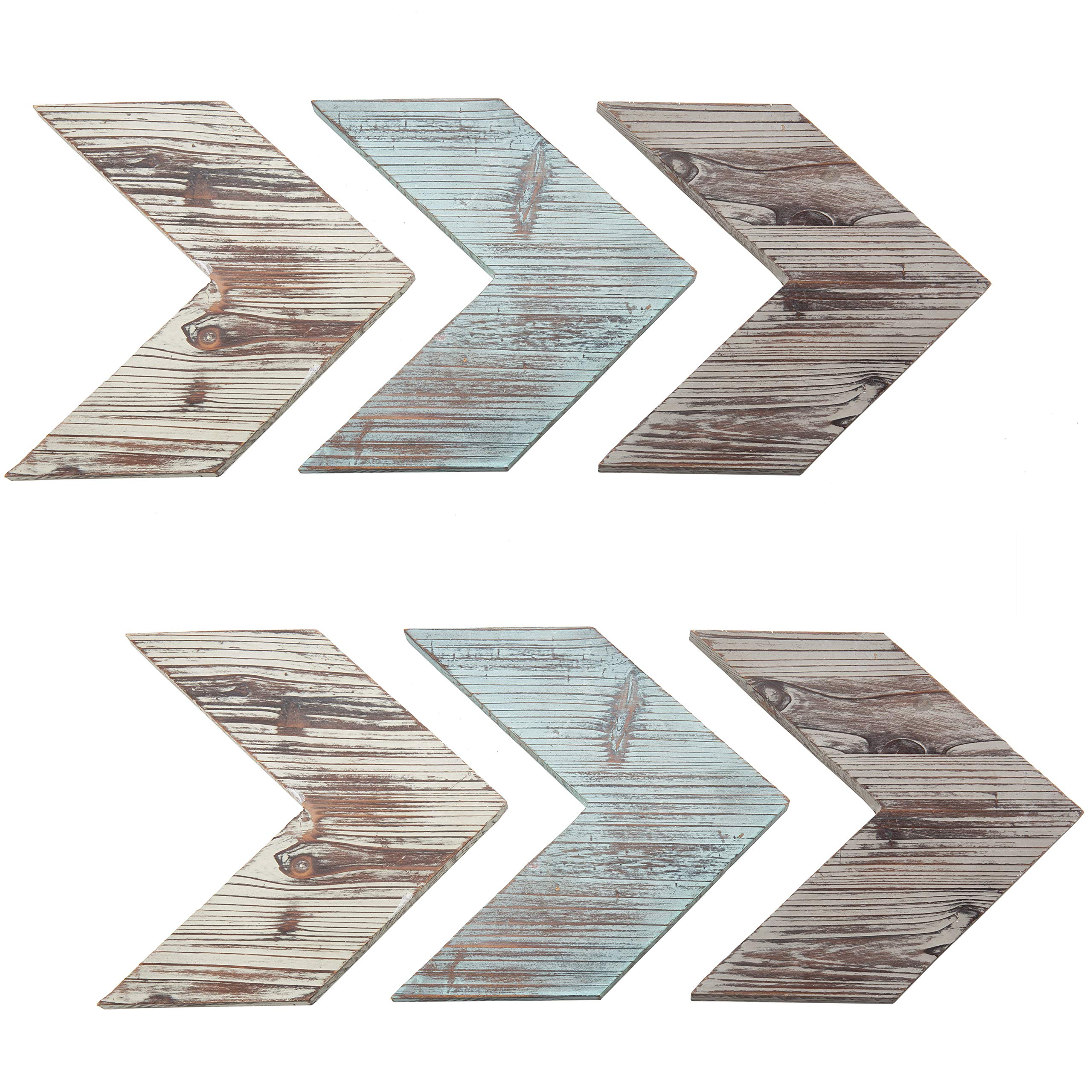 MyGift Rustic Wall-Mounted Wood Chevrons, Arrow Wall Decor, 6-Piece Set