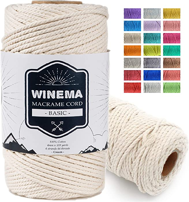 Macrame Cord 100% Natural Cotton - Macrame Rope, Cotton Cord for Wall Hanging, Plant Hangers, Crafts, Knitting, Decorative Projects, Soft Undyed Cotton Rope (Cream, 4mm109yards)