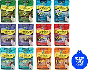Earthborn Holistic Grain Free Cat Food in Gravy in 6-Flavor Variety Pack (12 Pouches Total, 3 Ounces Each) Plus Silicone Lid