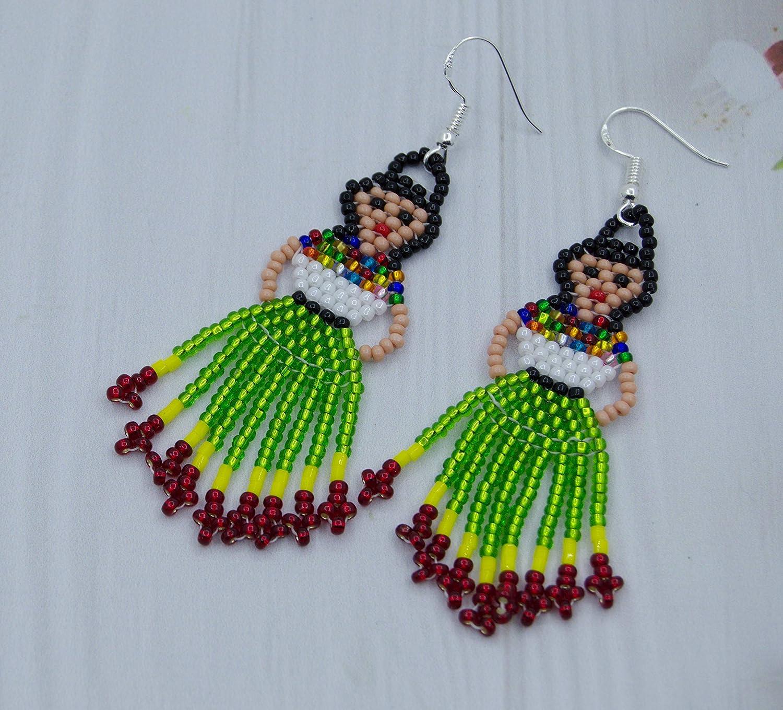97a02987a Amazon.com: Frida Kahlo earrings for Women Beaded Mexican Lady jewelry  Fiesta Doll: Handmade