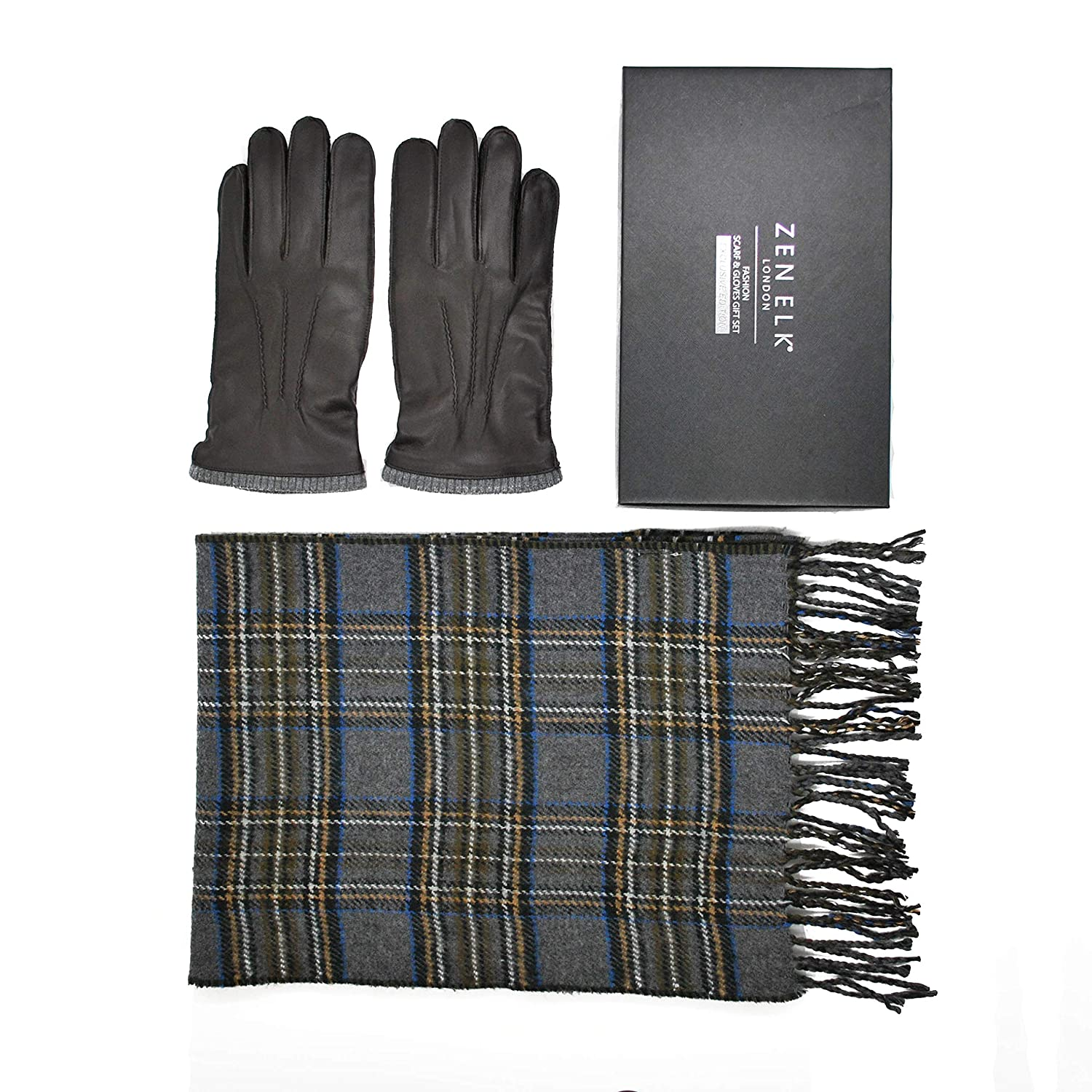 Men's Leather Gloves and Scarf Box Set #18 (S/M)