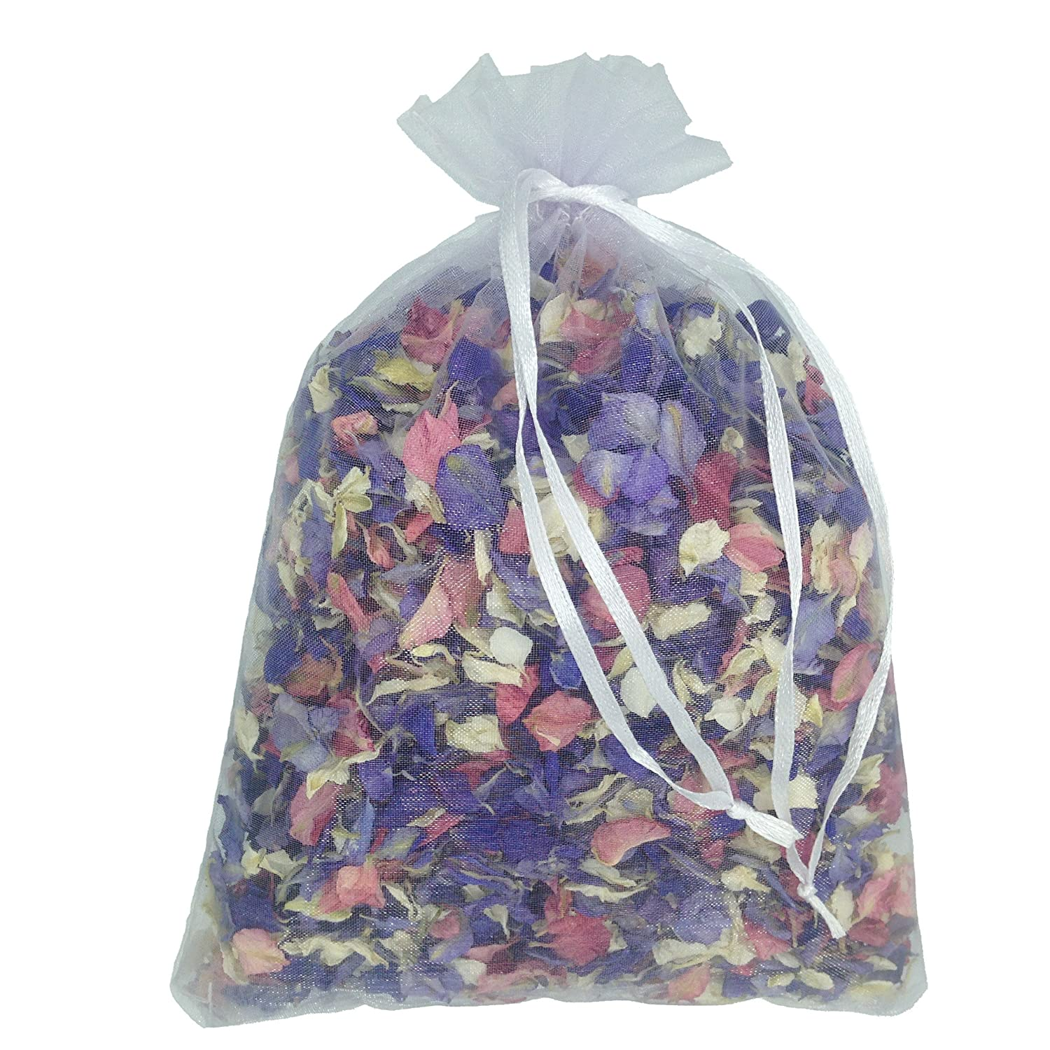 1 Litre of Mixed Colour Natural Biodegradable Delphinium Petals with a White Organza Bag - Wedding Throwing Confetti Truly Madly Deeply Ltd TMD-ADDP-MIX-1L