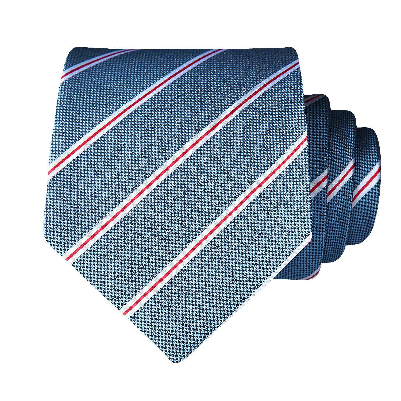BIYINI Elegante cravatta a righe cravatta cravatta e fazzoletto da taschino per uomo