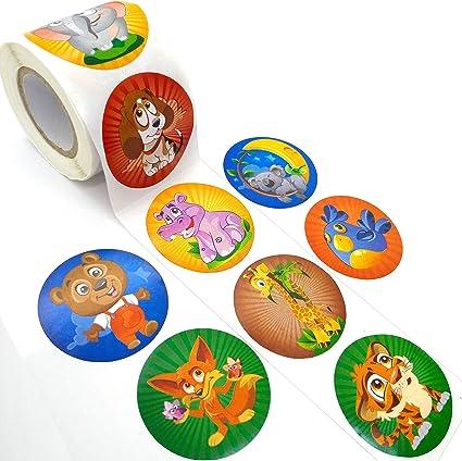 Toddmomy 1 Rollo de Pegatinas de Peces de Colores Pegatinas Antideslizantes Pegatinas de Peces Tropicales para Fiestas de Cumplea/ños 100 Pegatinas