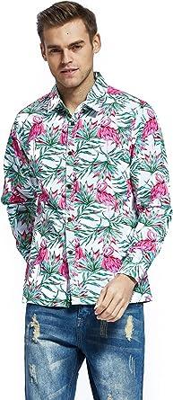 Camisa de Manga Larga Hawaiana Hawai Hangover para Hombre Camisa de Aloha Flamingo Enamorado Blanco: Amazon.es: Ropa y accesorios