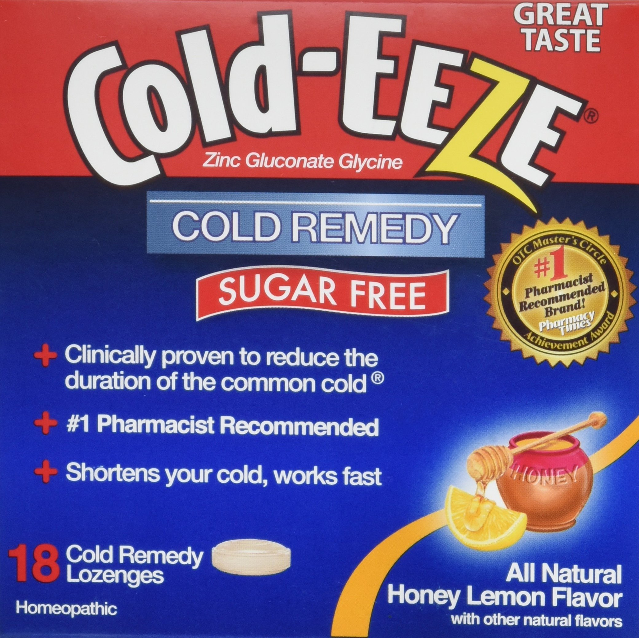 Cold Eeze Sugar Free All Natural Honey Lemon Cold Drop Lozenges