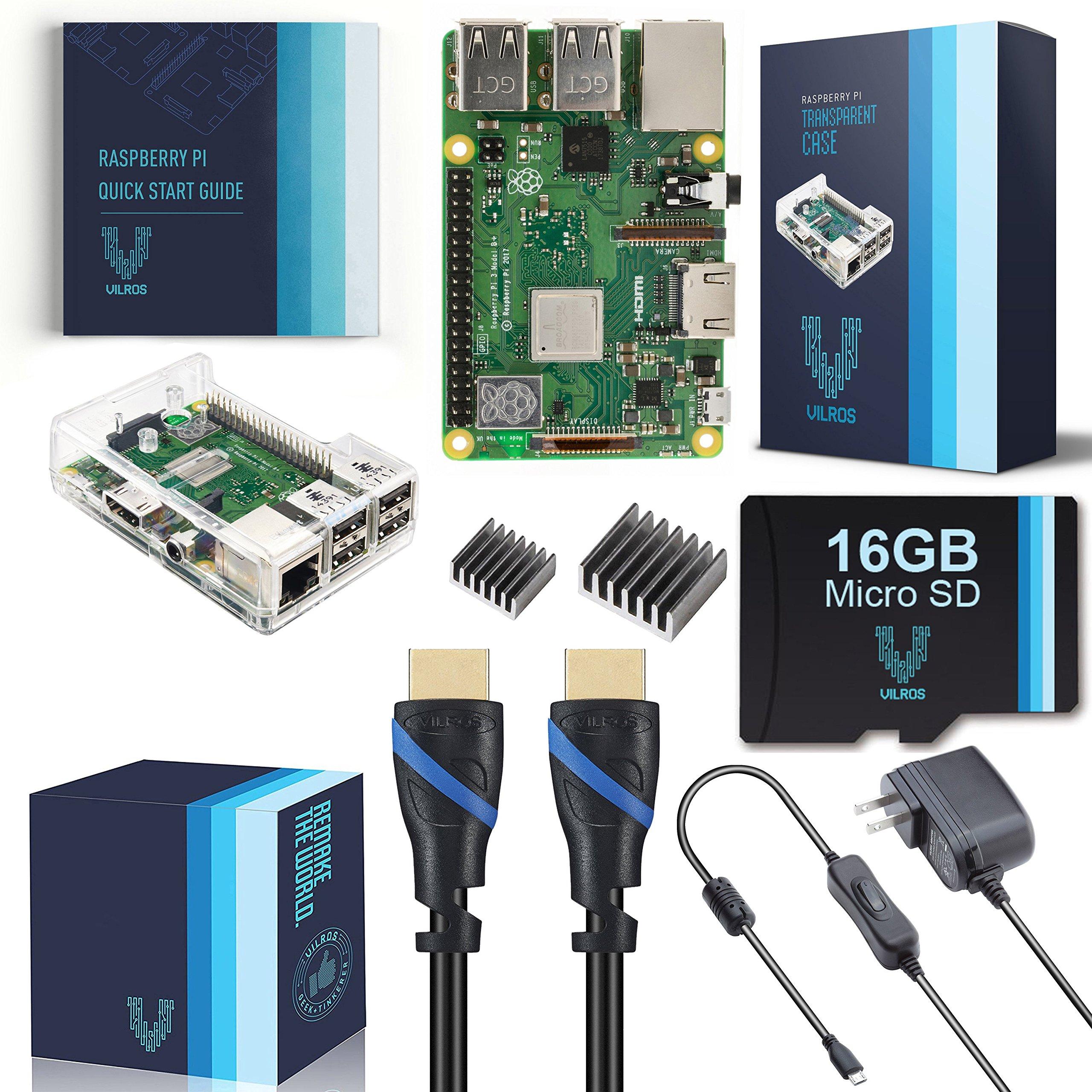 V-Kits Raspberry Pi 3 B+ (B Plus) Complete Starter Kit (16GB & Clear Case Edition) [LATEST MODEL 2018]
