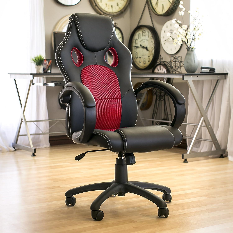 Mejor elección productos Executive Racing silla de oficina giratoria de piel sintética para ordenador asiento respaldo alto, color rojo: Amazon.es: Hogar
