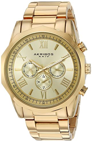 95bd573df05 Akribos XXIV Men s Gold-Tone Multi-Function Dodecagon Bezel with Gold-Tone  Dial on Gold-Tone Stainless Steel Bracelet Watch AK940YG  Amazon.co.uk   Watches