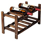 2 Tier Rustic Wood Wine 10 Bottles Stackable Storage Rack, Freestanding Holder Display Stand, Dark Brown