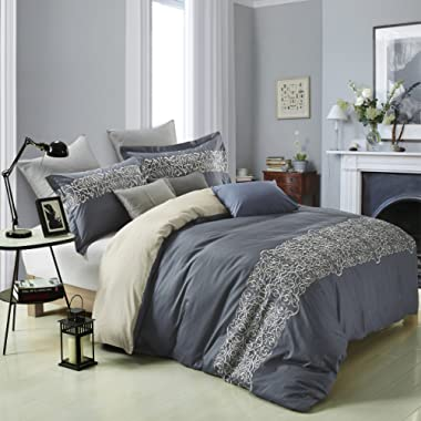 Superior Harrison 100% Cotton Slate Blue Duvet Cover with Light Gold Scrolling Embroidery and 2 Pillow Shams, Reversible Bed Set  King/California King