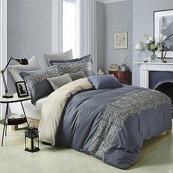 superior harrison 100 cotton duvet cover set with 2 pillow shams slate blue duvet