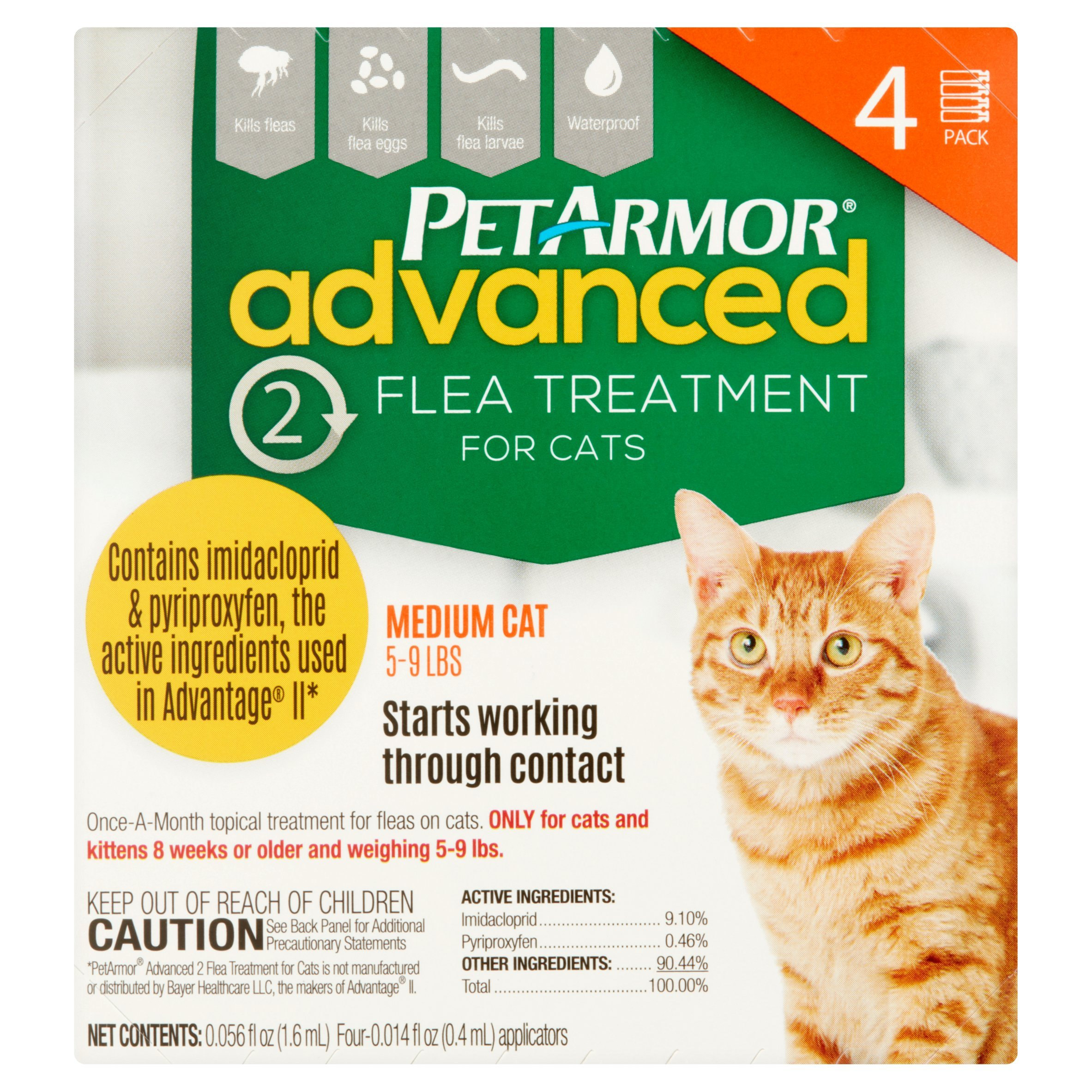 PetArmor Advanced 2 Flea Treatment, SmallMedium Cats 5-9 lbs